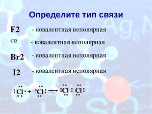 Определите тип связи Cl2 - ковалентная неполярная Cl Cl + Cl Cl F2 - ковалент
