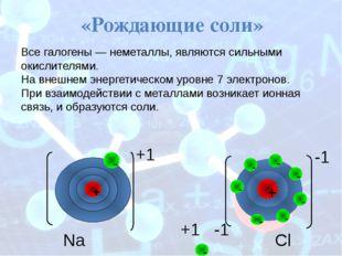 Na +1 Cl -1 +1 -1 «Рождающие соли» Все галогены— неметаллы, являются сильны