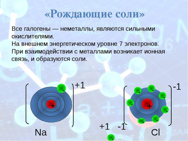 Na +1 Cl -1 +1 -1 «Рождающие соли» Все галогены— неметаллы, являются сильны...