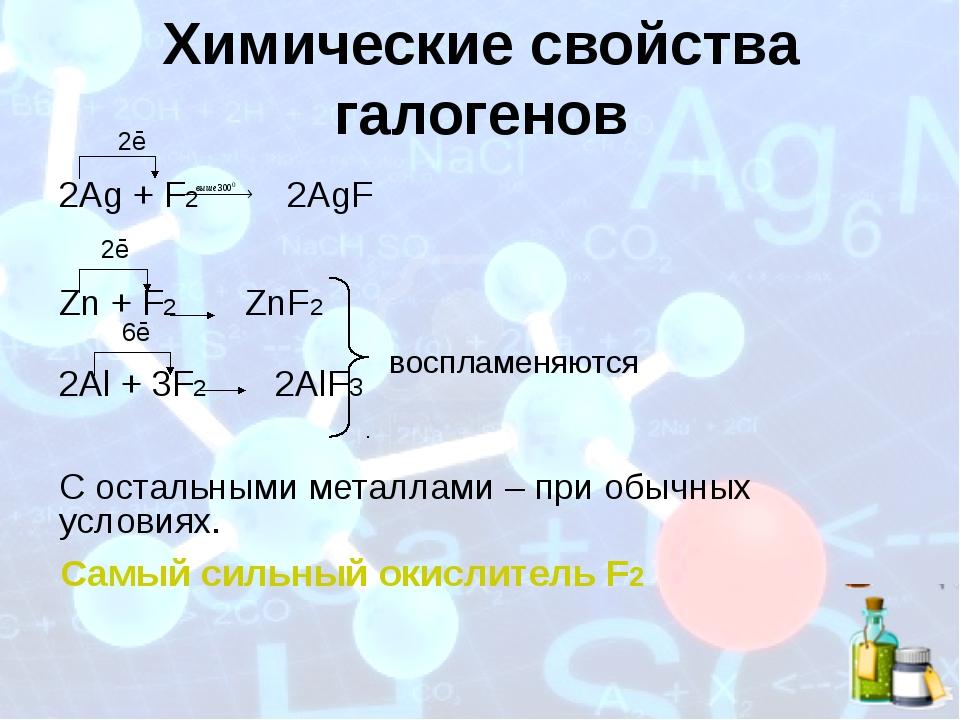 Химические свойства галогенов 2ē 2Ag + F2 2AgF 2ē Zn + F2 ZnF2 6ē 2Al + 3F2...