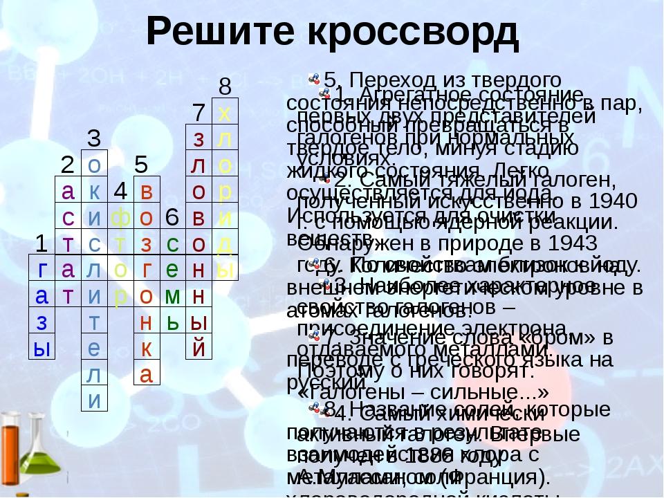 Решите кроссворд ы н н о в о л з х л о р и д ы ь м е с ф н к а о г з т о р к...