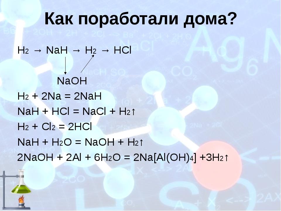 Как поработали дома? Н2 → NaH → Н2 → HCl NaOH H2 + 2Na = 2NaH NaH + HCl = NaC...