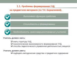 1.1. Проблемы формирования УУД на предметном материале (по Т.Н. Беркалиевой)