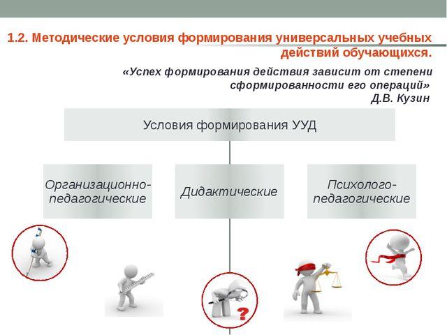 1.2. Методические условия формирования универсальных учебных действий обучаю...