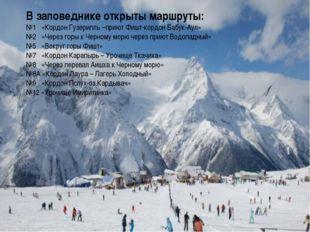 В заповеднике открыты маршруты: №1 «Кордон Гузерипль –приют Фишт-кордон Бабук