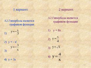 1 вариант. 2 вариант. * А2.Гипербола является графиком функции 1) 2) у = - х