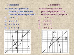1 вариант. 2 вариант. А4. Какое из уравнений решали графически при помощи да
