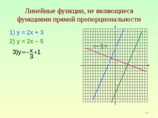 Линейные функции, не являющиеся функциями прямой пропорциональности 1) у = 2х