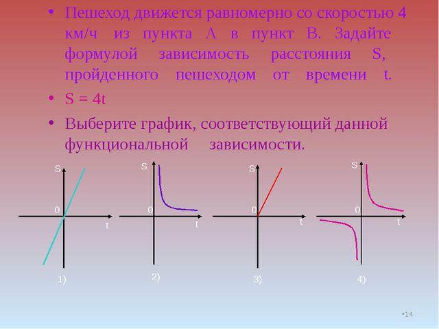 * Пешеход движется равномерно со скоростью 4 км/ч из пункта А в пункт В. Зада...