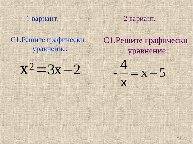 1 вариант. 2 вариант. С1.Решите графически уравнение: * С1.Решите графически...