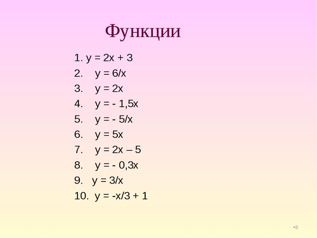 * Функции 1. у = 2х + 3 2. у = 6/х 3. у = 2х 4. у = - 1,5х 5. у = - 5/х 6. у...