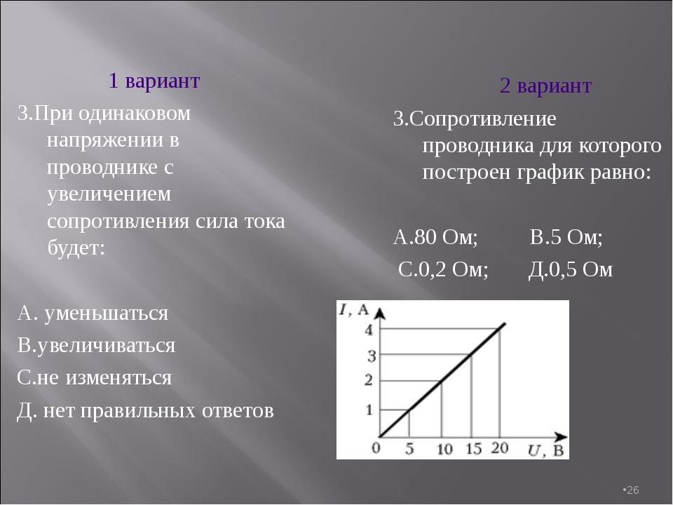 * 1 вариант 3.При одинаковом напряжении в проводнике с увеличением сопротивле...