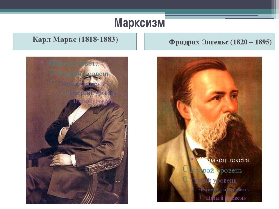Марксизм Карл Маркс (1818-1883) Фридрих Энгельс (1820 – 1895)