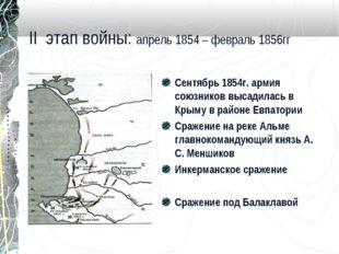 II этап войны: апрель 1854 – февраль 1856гг Сентябрь 1854г. армия союзников в