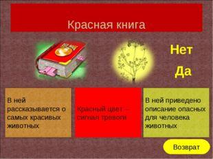Красная книга Красный цвет – сигнал тревоги Нет Да Возврат