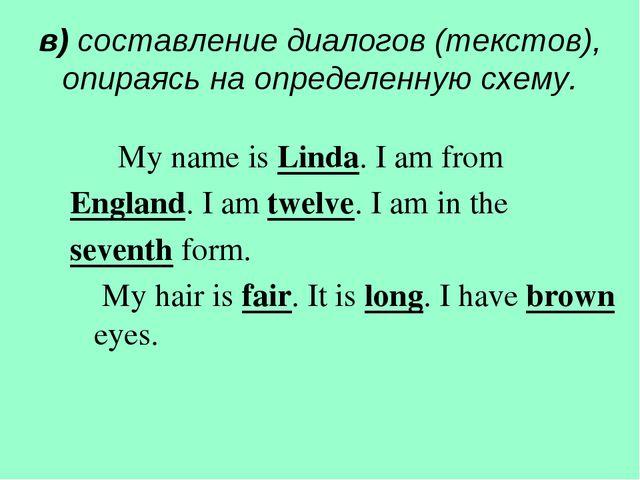 в) составление диалогов (текстов), опираясь на определенную схему. My name is...
