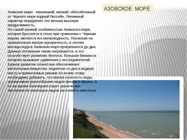 Азовское море - маленький, мелкий, обособленный от Черного моря водный бассей...