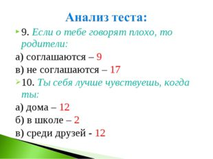 9. Если о тебе говорят плохо, то родители: а) соглашаются – 9 в) не соглашают