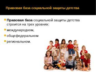 Правовая база социальной защиты детства Правовая базасоциальной защиты детст