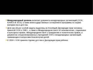 Международный уровеньвключает документы международных организаций (ООН, ЮНИС