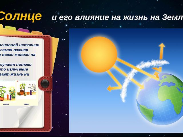 Солнце и его влияние на жизнь на Земле Солнце – основной источник энергии и с...