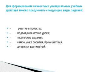 -     участие в проектах; -     подведение итогов урока; -     т
