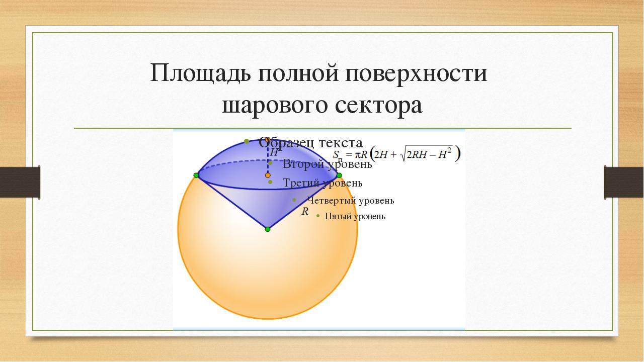 Площадь полной поверхности шарового сектора