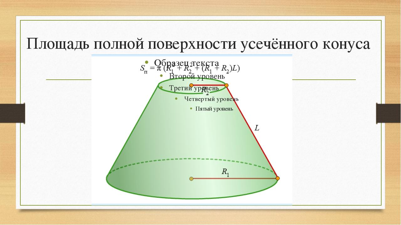 Площадь полной поверхности усечённого конуса