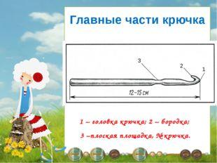 1 – головка крючка; 2 – бородка; 3 –плоская площадка, № крючка. Главные част