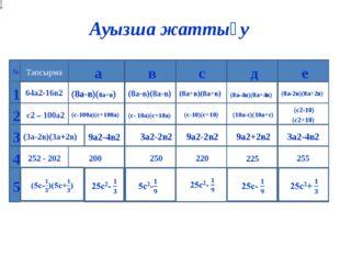 Ауызша жаттығу (8а-4в)(8а+4в) (с- 10а)(с+10а) 9а2-4в2 225