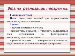 Этапы реализации программы I этап: проектный Цель: подготовка условий для фор
