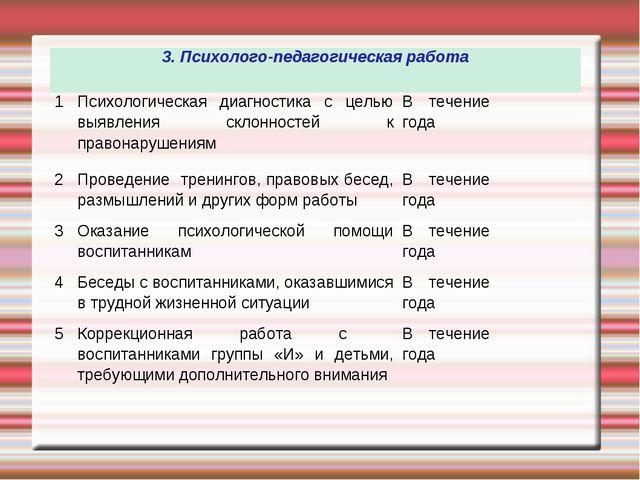 3. Психолого-педагогическая работа  1Психологическая диагностика с целью вы...