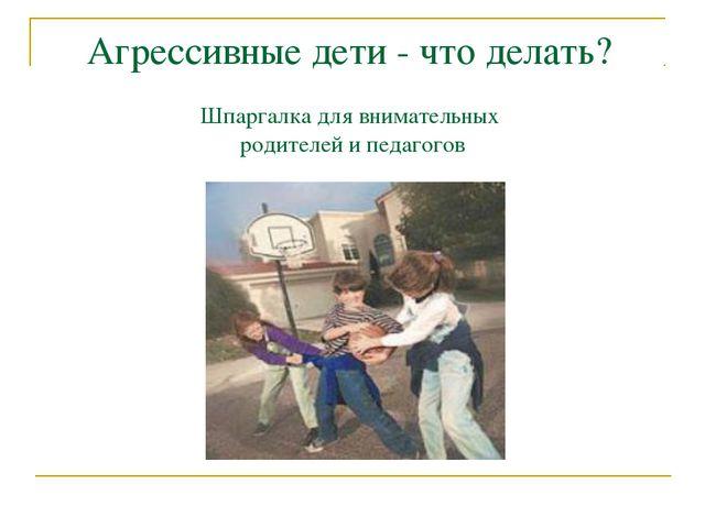 Агрессивные дети - что делать? Шпаргалка для внимательных родителей и педагогов