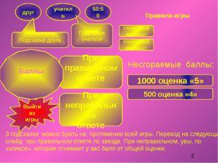 Правила игры 3 подсказки можно брать на протяжении всей игры. Переход на след