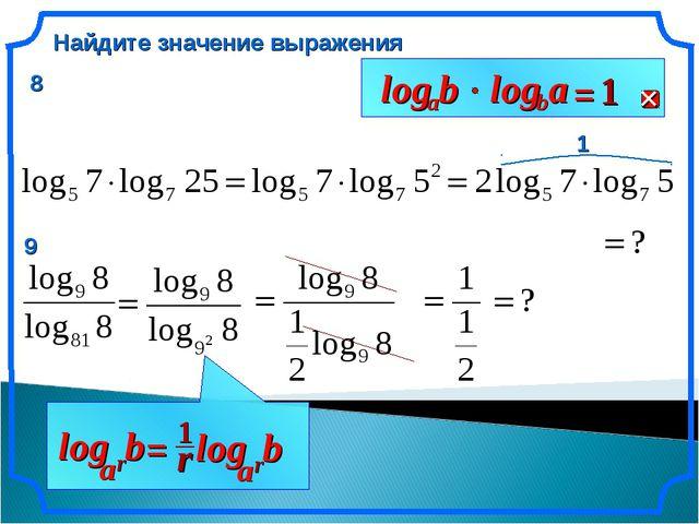 Найдите значение выражения 1 b r a log 8 9 Антонова Г.В.