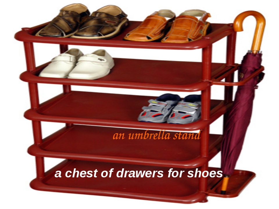 an umbrella stand a chest of drawers for shoes