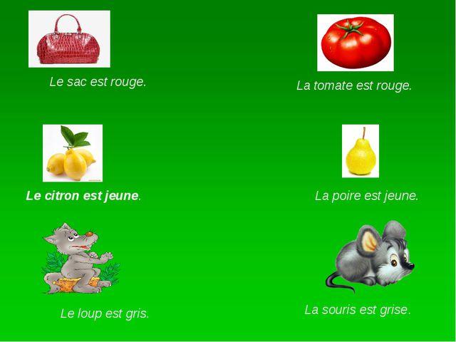 Le sac est rouge. La tomate est rouge. Le citron est jeune. La poire est jeu...
