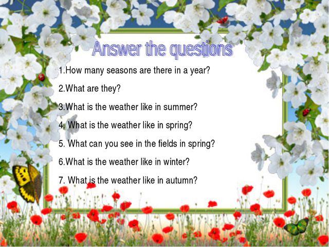 1.How many seasons are there in a year? 2.What are they? 3.What is the weath...