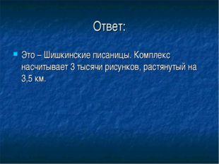 Ответ: Это – Шишкинские писаницы. Комплекс насчитывает 3 тысячи рисунков, рас