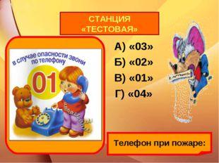 Телефон при пожаре: А) «03» Б) «02» В) «01» Г) «04» СТАНЦИЯ «ТЕСТОВАЯ»