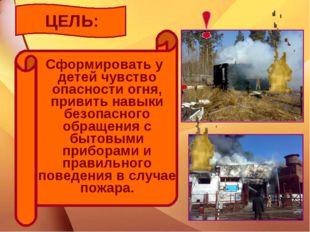 ЦЕЛЬ: Сформировать у детей чувство опасности огня, привить навыки безопасного