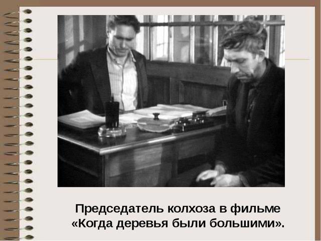 Председатель колхоза в фильме «Когда деревья были большими».