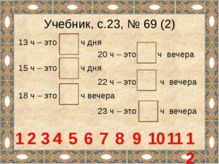 Учебник, с.23, № 69 (2) 13 ч – это ч дня 20 ч – это ч вечера 1 15 ч – это ч д