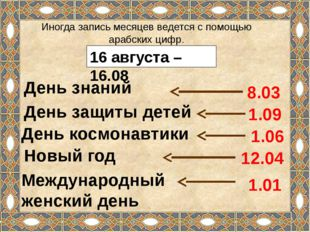 16 августа – 16.08 Иногда запись месяцев ведется с помощью арабских цифр. Ден
