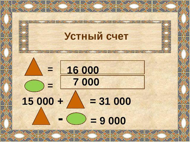 Устный счет = = 15 000 + = 31 000 = 9 000 - 16 000 7 000