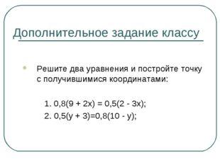 Дополнительное задание классу Решите два уравнения и постройте точку с получи