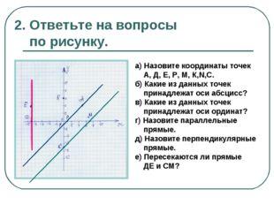 2. Ответьте на вопросы по рисунку. а) Назовите координаты точек А, Д, Е, Р, М