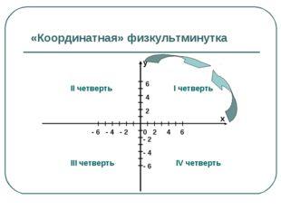 «Координатная» физкультминутка у х 0 2 4 6 6 4 2 - 2 - 4 - 6 - 6 - 4 - 2 I че
