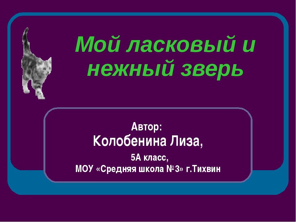 Мой ласковый и нежный зверь Автор: Колобенина Лиза, 5А класс, МОУ «Средняя шк...