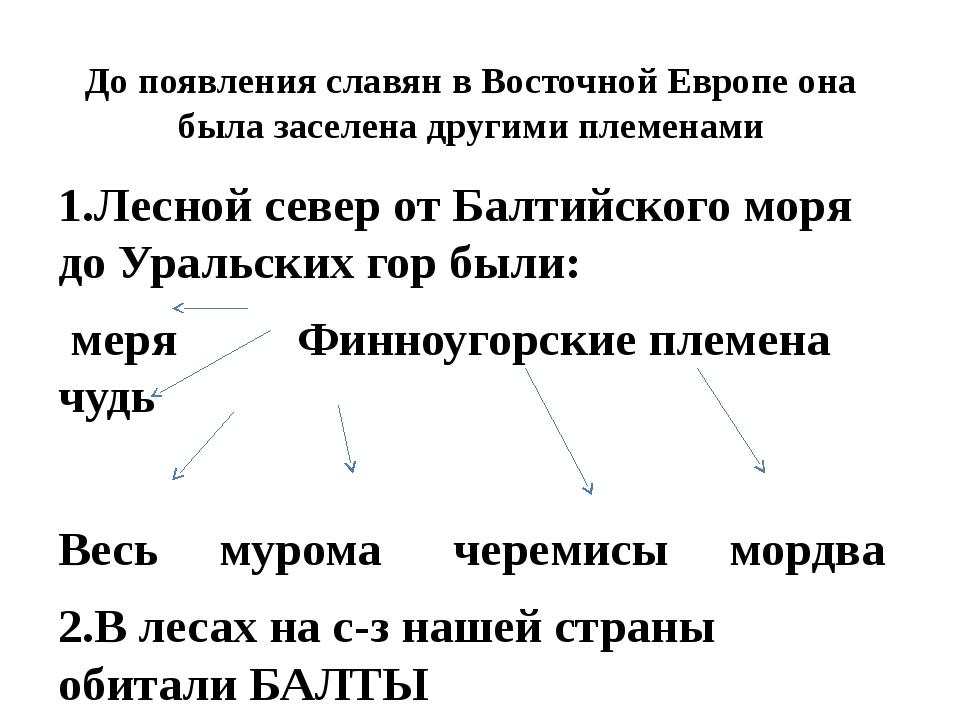До появления славян в Восточной Европе она была заселена другими племенами 1....